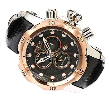 Invicta 10809 Men's Venom/Reserve Black Textured Dial Black Genuine Leather