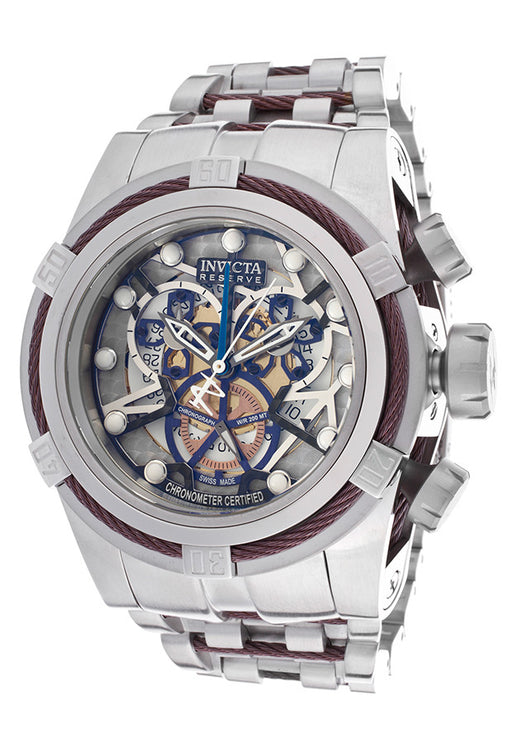 INVICTA 12899 Men's Bolt Reserve Chrono SS Silver-Tone Dial Brown Cable Wire
