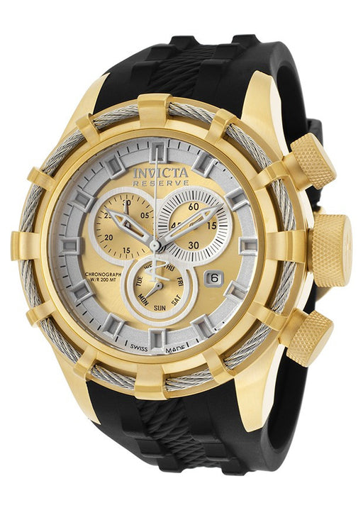 Invicta 15787 Men's Bolt Chronograph Black Silicone Gold-Tone Dial