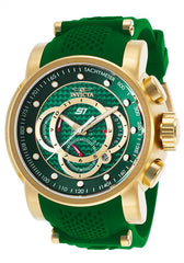 Invicta 19331 Men's S1 Rally Chrono Green Dial Yellow Gold Steel & Green Silicone Strap