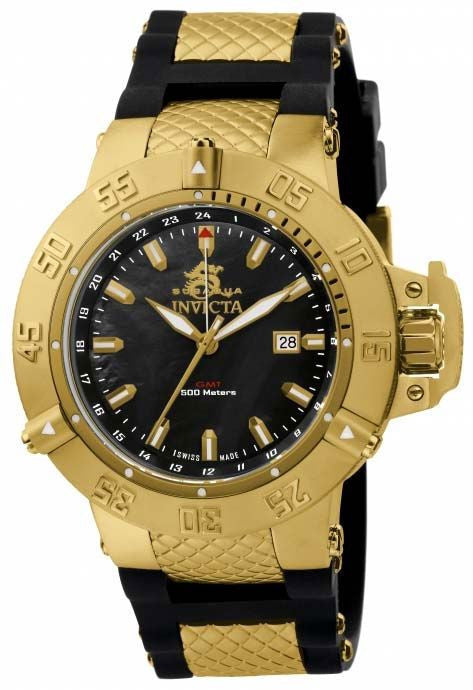Invicta 1149 Men's Subaqua III Swiss Made Quartz GMT Mother-of-Pearl Dial Polyurethane Strap Watch