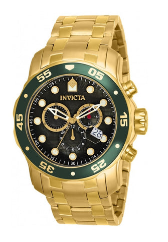 Invicta 80074 Mens Pro Diver Scuba Swiss Chronograph Black Dial 18k Gold Plated Watch