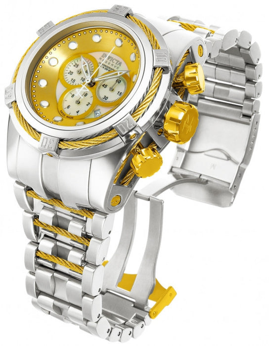 "Invicta 12746 Reserve Bolt Zeus ""High Polished"" Silver Tone Gold Dial Swiss Made Chronograph Stainless Steel Watch"