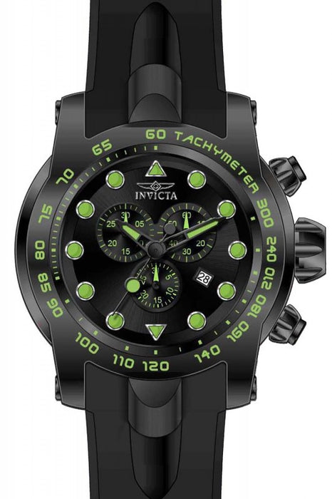 Invicta Pro Diver Chronograph Black Dial Gold Silicone Mens Watch 17812