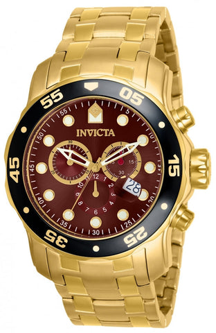 Invicta 80065 Mens Pro Diver Scuba Swiss Chronograph Brown Dial 18k Gold Plated Bracelet Watch