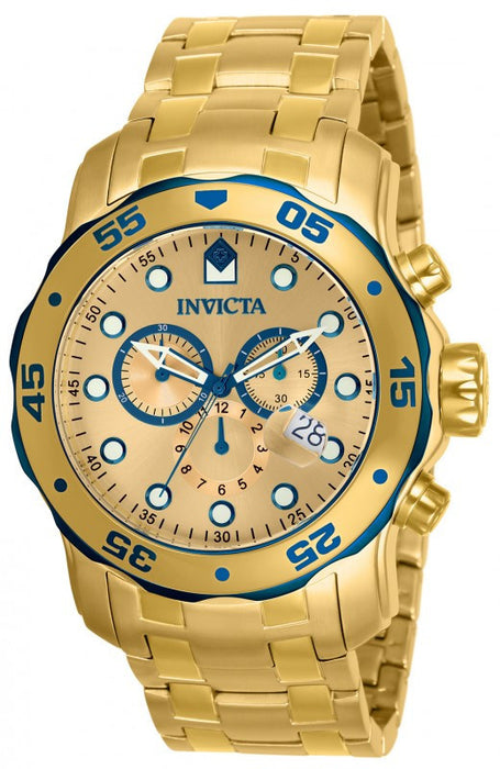 Invicta 80069 Mens Pro Diver Scuba Swiss Chronograph 18k Gold Plated Stainless Steel Watch