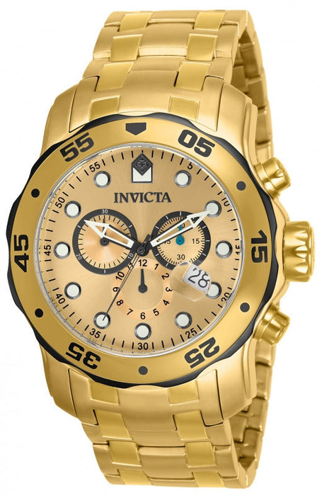 Invicta 80070 Mens Pro Diver Scuba Swiss Chronograph 18k Gold Plated Stainless Steel Black Watch