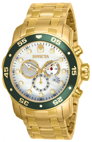 Invicta 80073 Men's Pro Diver Chronograph 18K Gold Plated Steel White MOP Dial
