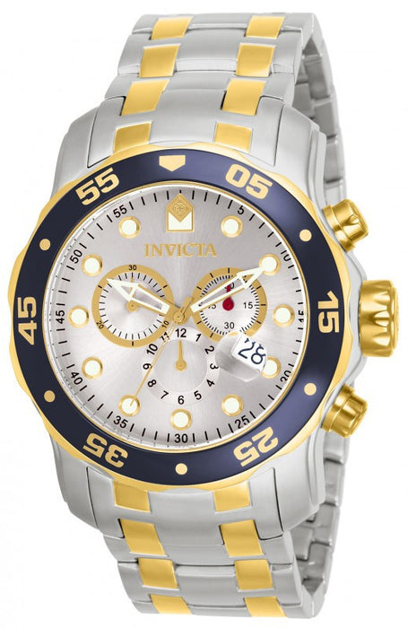 Invicta 80079 Pro Diver Chronograph Silver Dial Two-tone Mens Watch