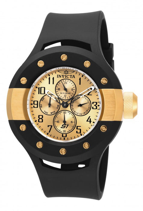 Invicta S1 Rally Multi-Function Gold Dial Black Rubber Mens Watch 17391