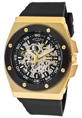 Rotary 613C Men's Editions Automatic Skeletonized Silver/Black Dial Gold Tone IP Case Black Rubber