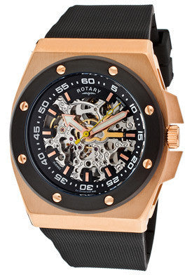 Rotary 614C Men's Editions Automatic Skeletonized Silver/Black Dial Rose Gold Tone IP Case Black Rubber