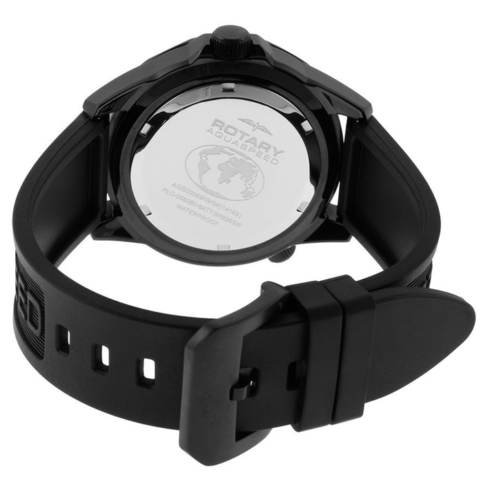 Rotary AGS00069-W-04 Men's Aquaspeed Black Rubber Strap Black Textured Dial