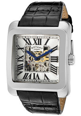 Rotary GLE00007-21 Men's Editions Automatic Partially See Thru Silver Dial Black Genuine Leather