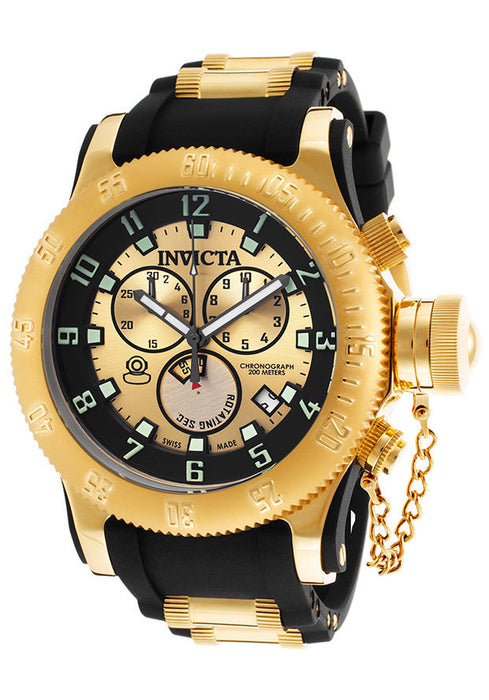 Invicta 15565 Men's Black Polyurethane Gold-Tone dial