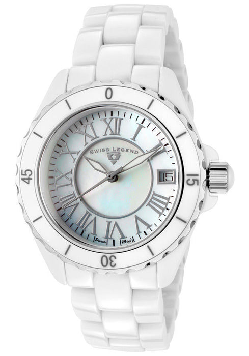 Swiss Legend SL-20050-WWSR Karamica White High-Tech Ceramic MOP Dial Accents
