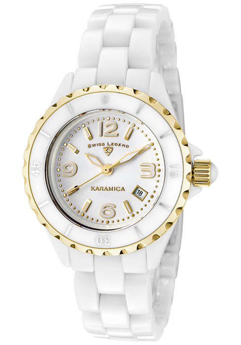 Swiss Legend Women's 10049-WWGA Karamica Analog Display Swiss Quartz White Watch