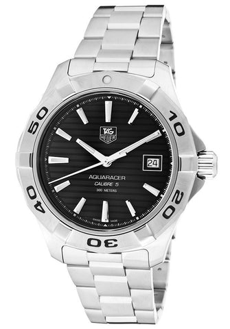 TAG-WAP2010.BA0830 Men's Aquaracer Black Dial Stainless Steel Bracelet
