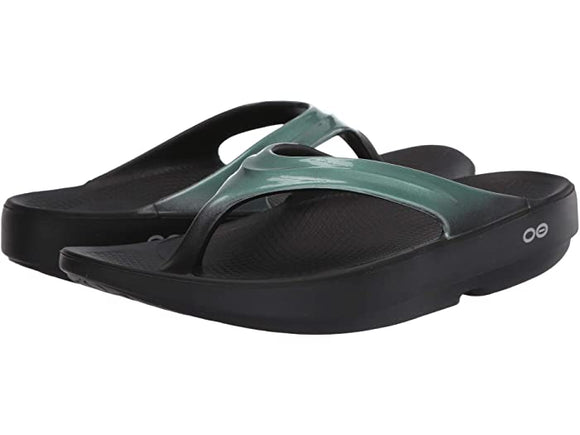Oofos Women's Oolala Metalitic Mint Black