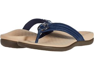 Vionic Tide Aloe Leather Flip Flop Navy