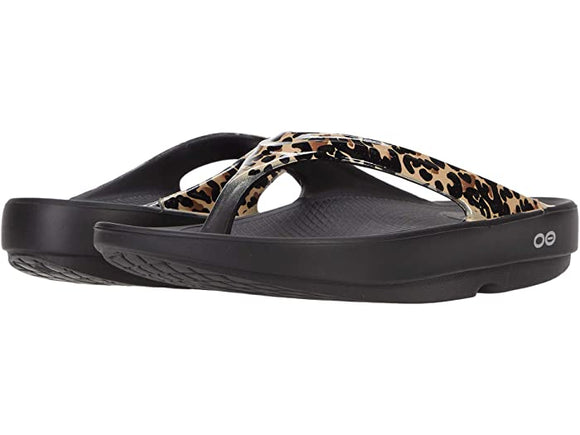Oofos Women's OOlala Thong Limited Black Leopard