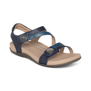 Aetrex Jess Adjustable Quarter Strap Sandal Navy