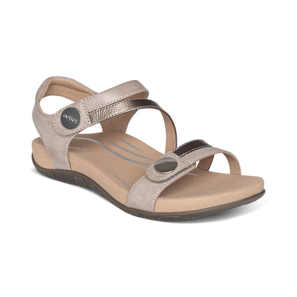 Aetrex Jess Adjustable Quarter Strap Sandal Smoke