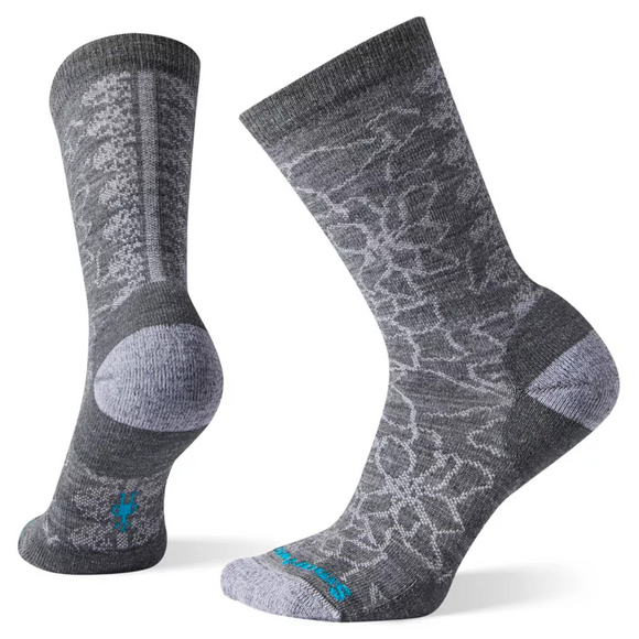Smartwool Women's Poinsettia Graphic Crew Gray Socks