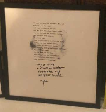 """Water From the Cup of Your Hand"" - 24.5"" x 24.5"" - Framed Rice Paper Picture Poem"