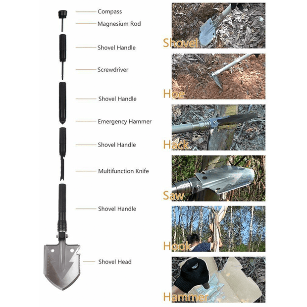 15-in-1 Heavy-Duty Multi-Function Folding Shovel