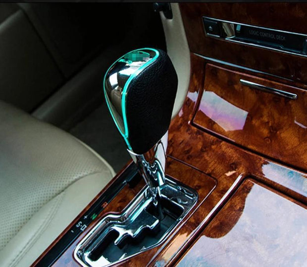 Car Logo LED Leather Shift Lever