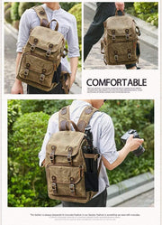 High Capacity Canvas Camera Backpack