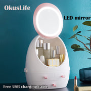 USB Rechargeable Makeup Organizer Cosmetic Storage Box Portable Jewelry Container Dust proof Drawer Waterproof Mirror LED Light