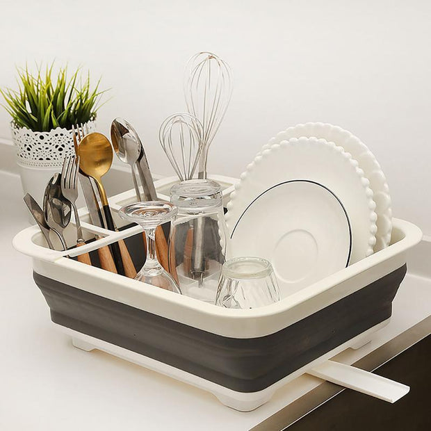 Collapsible Dish Drainer Dryer Rack Kitchen Organizer