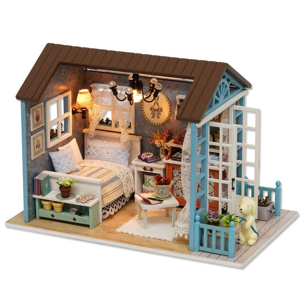 Wooden Doll House Set For Baby Toddlers Kids