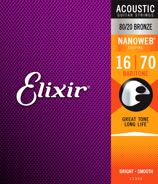 Elixir 11306 80/20 Bronze Baritone Acoustic Guitar Strings with NANOWEB. 16-70