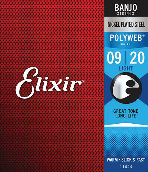 Elixir 11600 Nickel Plated Steel Banjo Strings with POLYWEB. Light 9-9