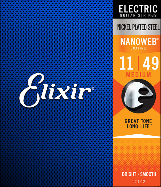 Elixir 12102 Nickel Plated Steel Electric Guitar Strings with NANOWEB. Medium 11-49