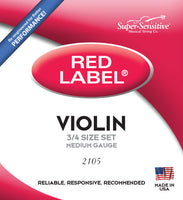 Supersensitive 2105 Red Label Violin. Nickel 3/4 Medium Gauge