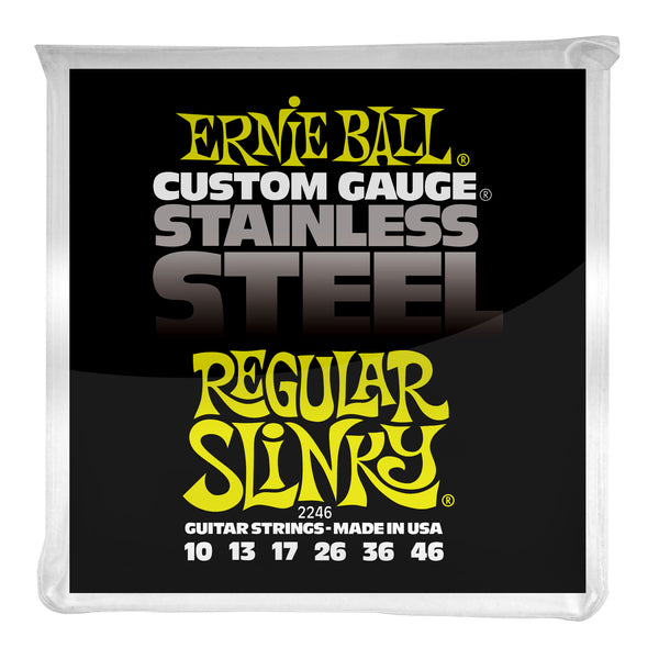Ernie Ball P02246 Regular Slinky Stainless Steel Wound Electric Guitar Strings. 10-46