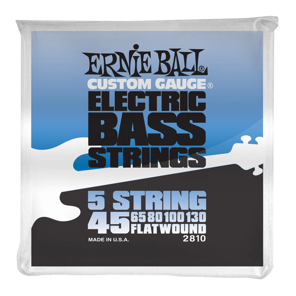 Ernie Ball P02810 Flatwound (5 String) Electric Bass Strings. 45-130