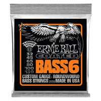 Ernie Ball P02838 Slinky Long Scale (6 String) Nickel Wound Electric Bass Strings. 32-130
