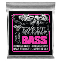 Ernie Ball P03834 Super Slinky Coated Electric Bass Strings. 45-100
