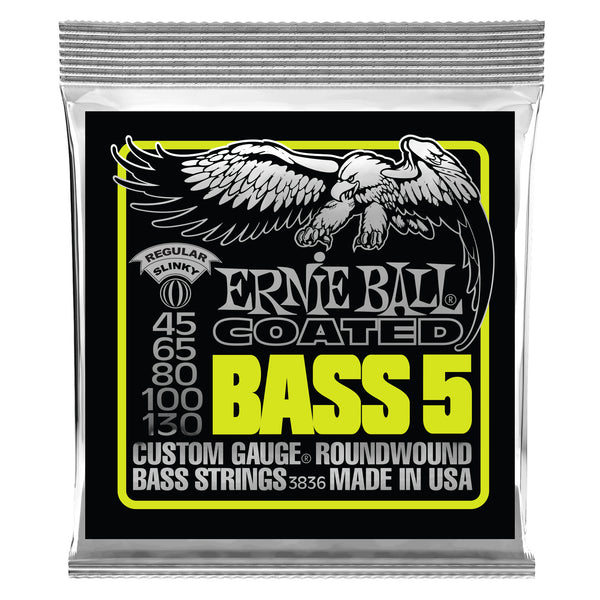 Ernie Ball P03836 Bass 5 Slinky Coated Electric Bass Strings. 45-130