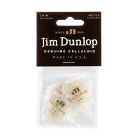 Dunlop 483P04TH Celluloid Guitar Pick. Thin Gauge White Pearloid (12 Pack)