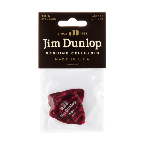 Dunlop 483P09TH Celluloid Guitar Pick Red Pearloid Thin (12 Pack)