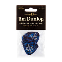 Dunlop 483P10HV Celluloid Guitar Pick Blue Pearloid Heavy (12 Pack)