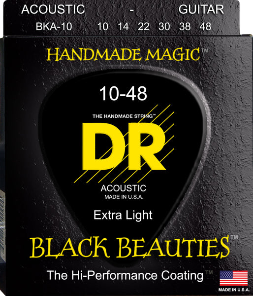 DR Strings BKA-10 Black Beauties Colored Coated Acoustic Guitar. 10-48