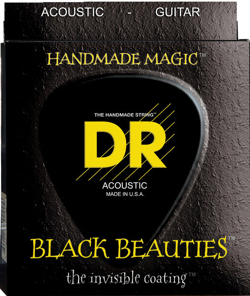 DR Strings BKA-11 Black Beauties Colored Acoustic Guitar Strings. 11-50