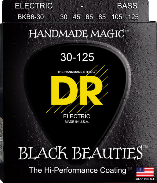 DR Strings BKB6-30 Black Beauties Colored (6 String) Bass Guitar Strings. 30-125 Black